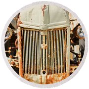 Tractor Face Round Beach Towel