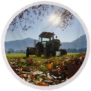 Tractor In Backlight Round Beach Towel