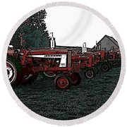 Tractor Row Round Beach Towel