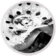 Tractor Seat Close Up Black And White Round Beach Towel