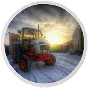 Tractor Sunrise Round Beach Towel