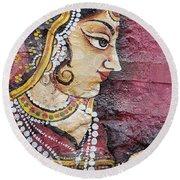 Traditional Painting On A Wall Jodhpur Round Beach Towel