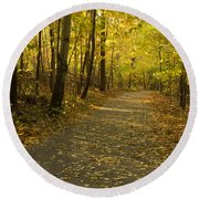 Trail Scene Autumn Abstract 1 Round Beach Towel