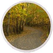 Trail Scene Autumn Abstract 3 Round Beach Towel