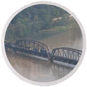 Train Along New River 3 Round Beach Towel