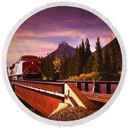 Train Going Over A Bridge Banff Round Beach Towel