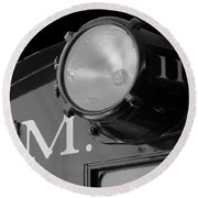 Train Headlight Round Beach Towel