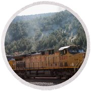 Train In Spanish Fork Canyon Round Beach Towel