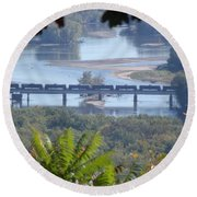 Train On The Mississippi Round Beach Towel