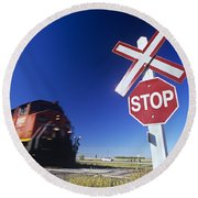 Train Passing Railway Crossing Round Beach Towel