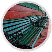 Train Station Waiting Area Round Beach Towel