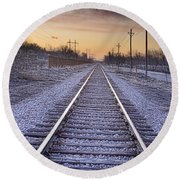 Train Tracks And Color 2 Round Beach Towel