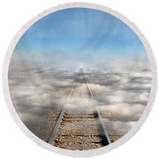 Train Tracks Into The Clouds Round Beach Towel