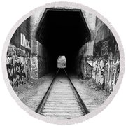 Train Tunnel At The Muir Trestle In Martinez California . 7d10235 . Black And White Round Beach Towel