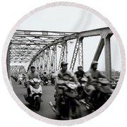 Trang Tien Bridge Hue Round Beach Towel