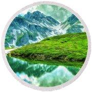 Travelers Rest Swiss Alps Round Beach Towel