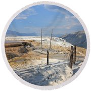 Travertine Limestone Terraces Round Beach Towel
