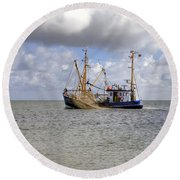trawler - Sylt Round Beach Towel by Joana Kruse