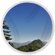 Tree And A Panoramic View Round Beach Towel