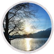 Tree And Lake Round Beach Towel