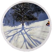 Tree And Two Tobogganers Round Beach Towel by Andrew Macara