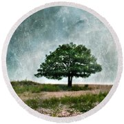Tree And Wildflowers  Round Beach Towel