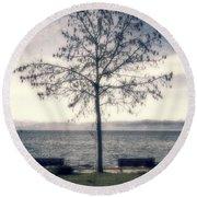 tree at lake Constance Round Beach Towel by Joana Kruse