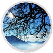 Tree Branches And Sun Round Beach Towel