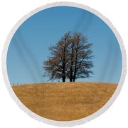 Tree Formation On A Hill Of Veldt Round Beach Towel