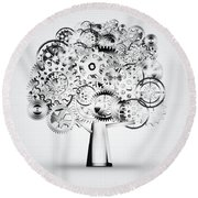 Tree Of Industrial Round Beach Towel by Setsiri Silapasuwanchai