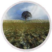 Tree On A Landscape, Giants Ring Round Beach Towel