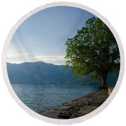 Tree On The Lake Front Round Beach Towel