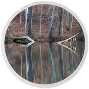 Tree Reflection Round Beach Towel