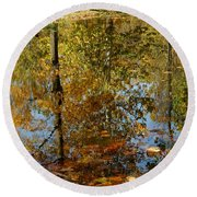 Tree River Reflections Round Beach Towel