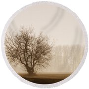 Tree Silhouette In Fog Round Beach Towel