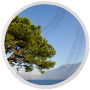 Tree Standing Close To A Lake Round Beach Towel