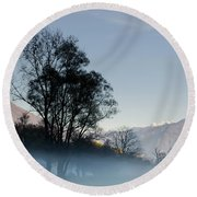 Tree With Fog On Field And Round Beach Towel