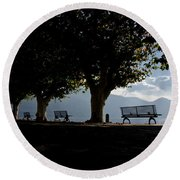 Trees And Benches Round Beach Towel