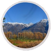 Trees And Mountain Round Beach Towel