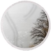 Trees And Pampas Grass Round Beach Towel