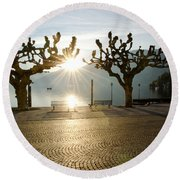 Trees And Sunset Round Beach Towel