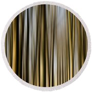 Trees In A Forest Blurred Round Beach Towel