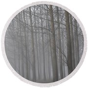 Trees In The Fog Round Beach Towel