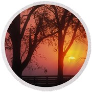 Trees In The Sunrise Round Beach Towel
