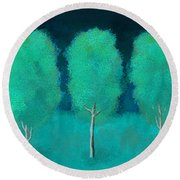 Trees In Triplicate Moonlit Winter Round Beach Towel by Robin Lewis