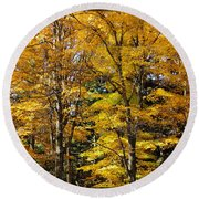 Trees Of Gold Round Beach Towel