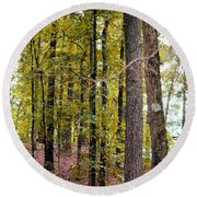 Trees Of Golden Hues Round Beach Towel