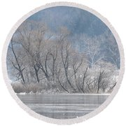 Trees On A Frozen Lake Round Beach Towel