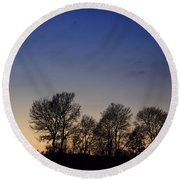 Trees On A Hill In Sunset Round Beach Towel