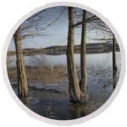 Trees On Flooded Riverbank No.1001 Round Beach Towel